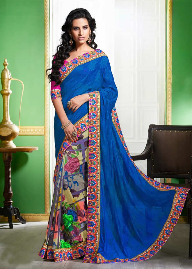 front drop saree