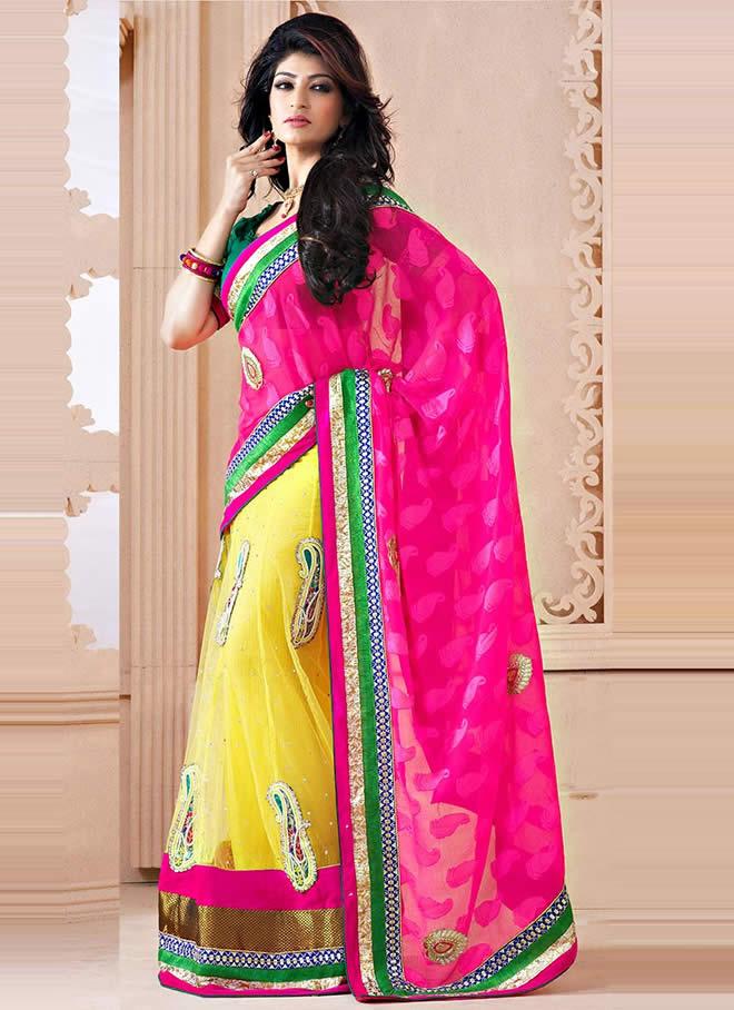 lehenga style sari