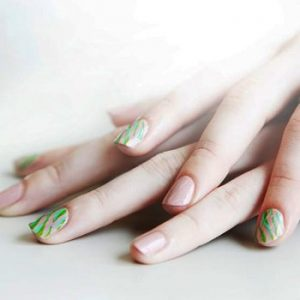 Pink And Green Striped Manicure