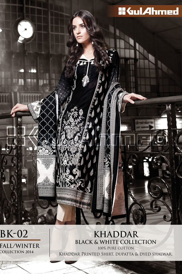 Gul Ahmed Winter 2014 Black And White Collection