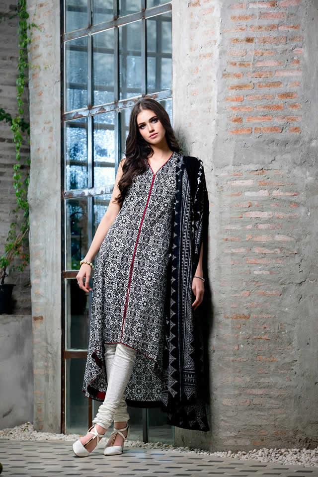 9f4525d900 Gul Ahmed Black & White Dresses Specially for Muharram