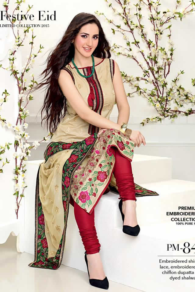 2015 Summer Eid Lawn Gul Ahmed Dresses Collection Photos