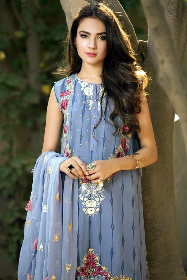 So Kamal Summer Embroidered Chiffon Dresses Collection 2016