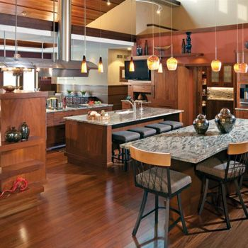 Kitchen blended with Family Room