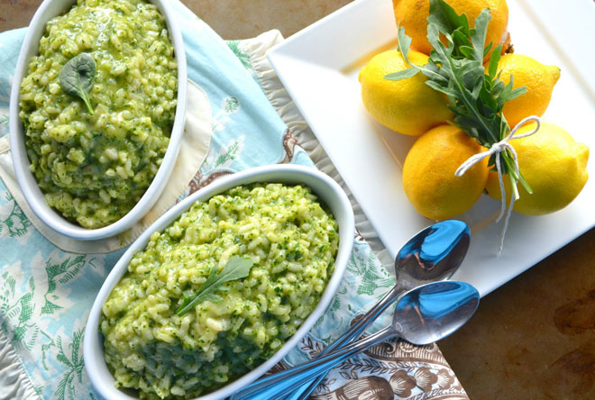 Lemon and spinach risotto