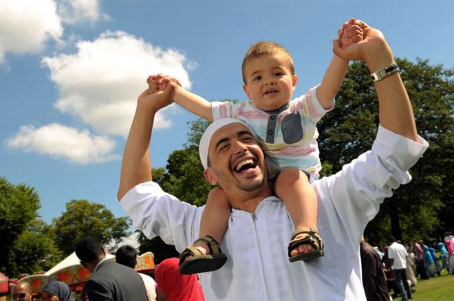 father son eid celebration