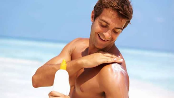 using sunblock