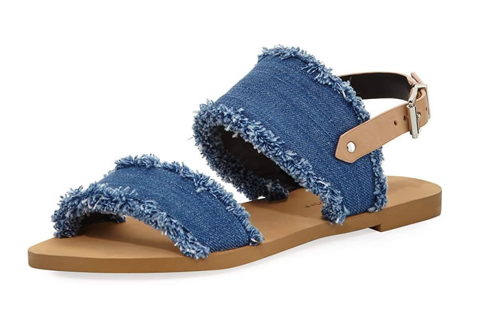 Emery Denim Fringe Flat Sandal, Blue