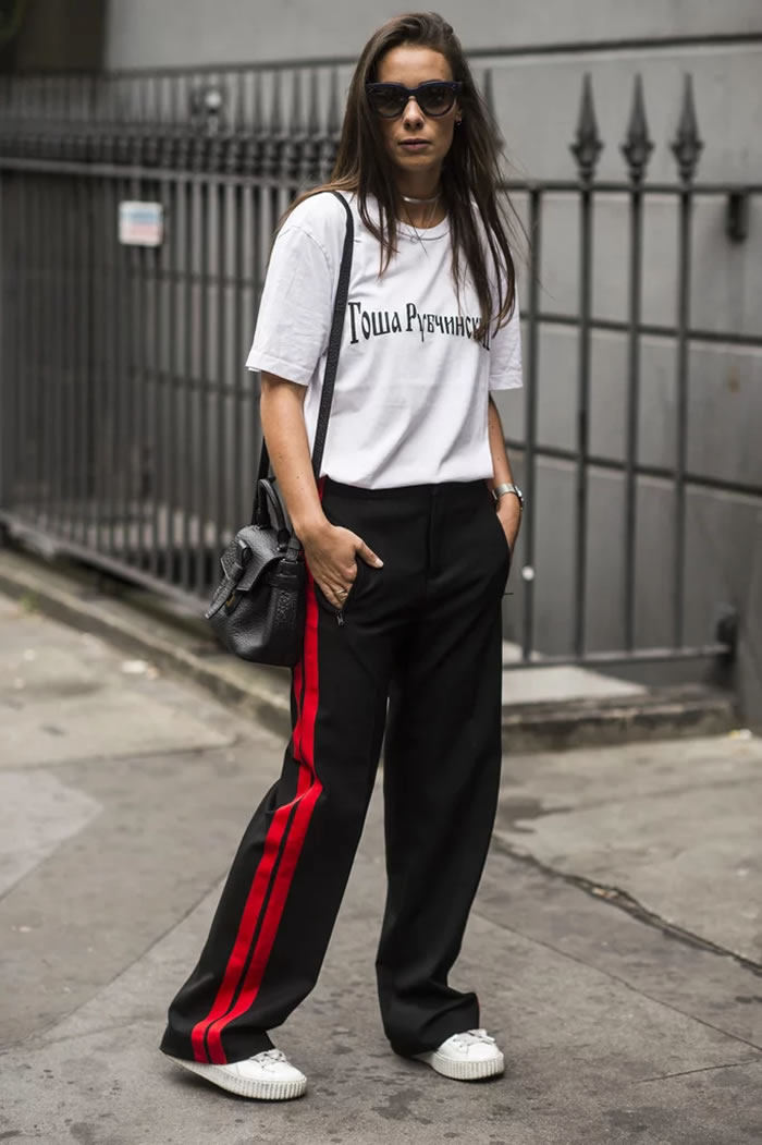 With a Graphic Tee and Platform Sneakers
