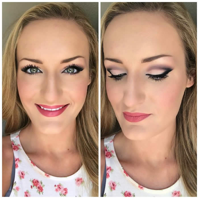 Eye makeup for down-turned eyes