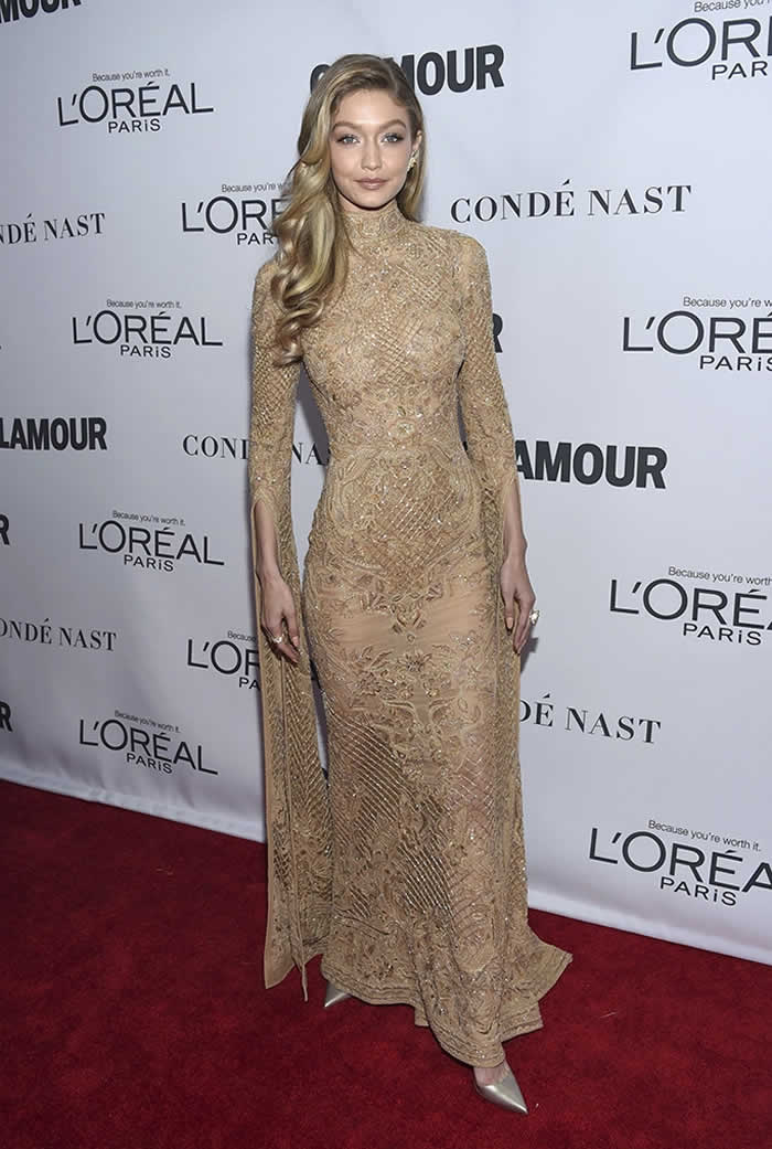 Gigi Hadid Gold dress