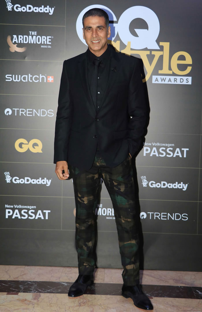 Akshay Kumar poses for photographers on his arrival at the GQ Style Awards 2018 held at Taj Lands End in Bandra, Mumbai