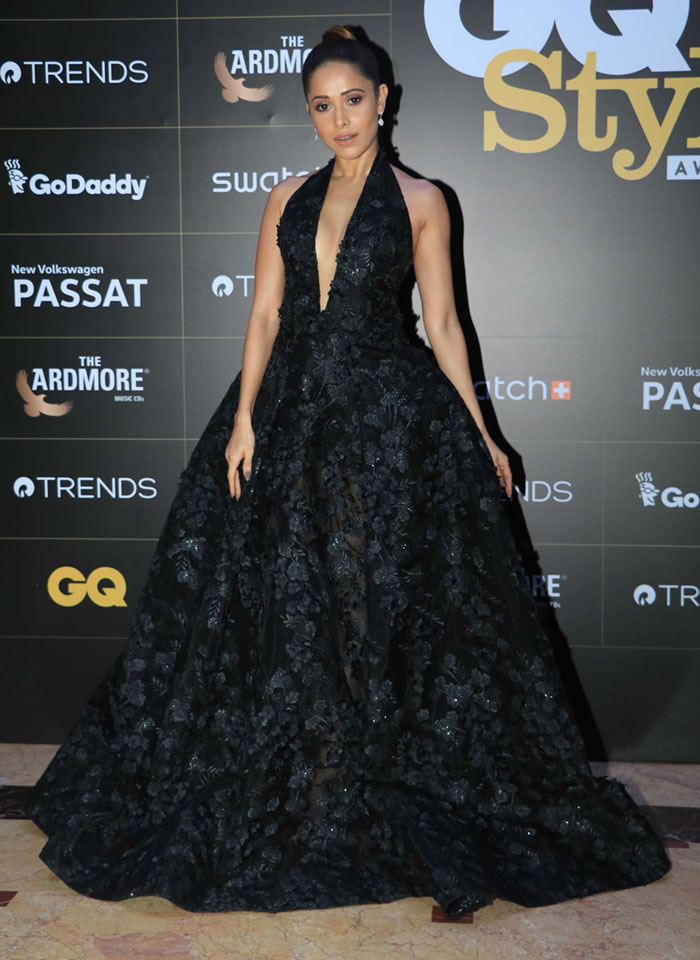 Nushrat Bharucha poses for the cameras on her arrival at the GQ Style Awards 2018 in Mumbai.