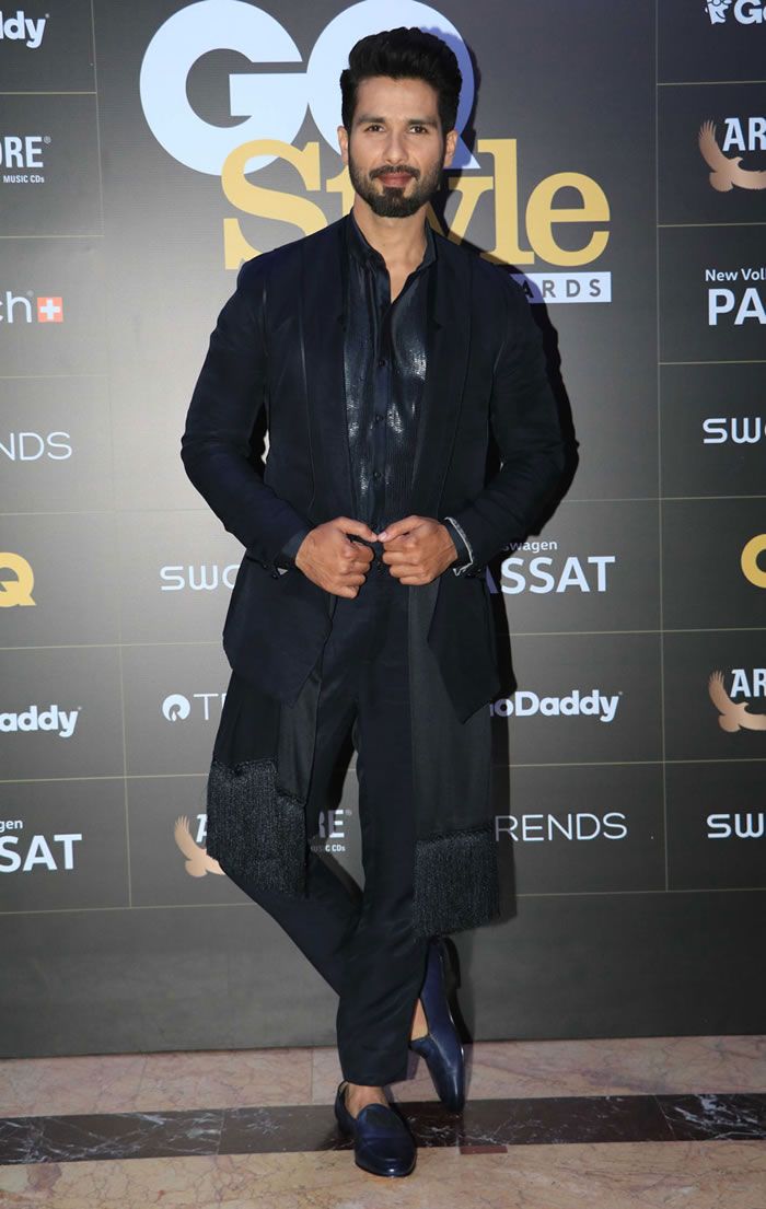 Shahid Kapoor poses for a photo on his arrival at the GQ Style Awards 2018 held at Taj Lands End in Mumbai